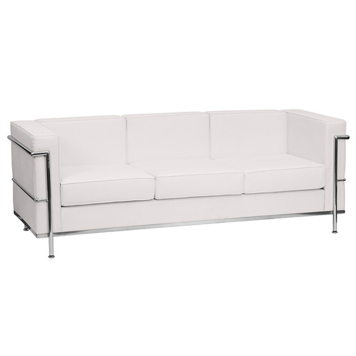 HERCULES Regal Series Contemporary Melrose White LeatherSoft Sofa with Encasing Frame