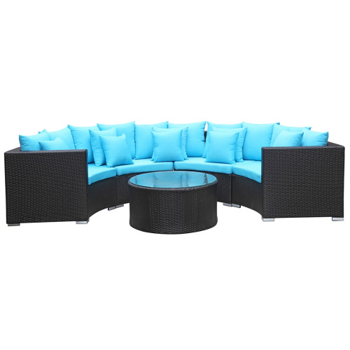 Roundano Outdoor Sofa Blue Cushions