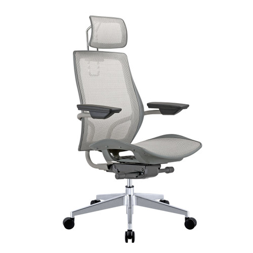 Humanspine Office Chair in Nicole Gray Mesh Seat and Back, Brand NEW