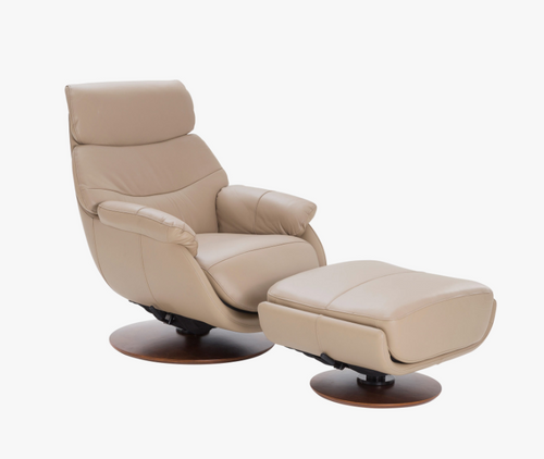 Coral Swivel Reclining Chair with Ottoman By Tempus