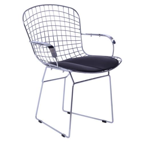 Wire Diamond Chair, Black Cushion, Set of 2
