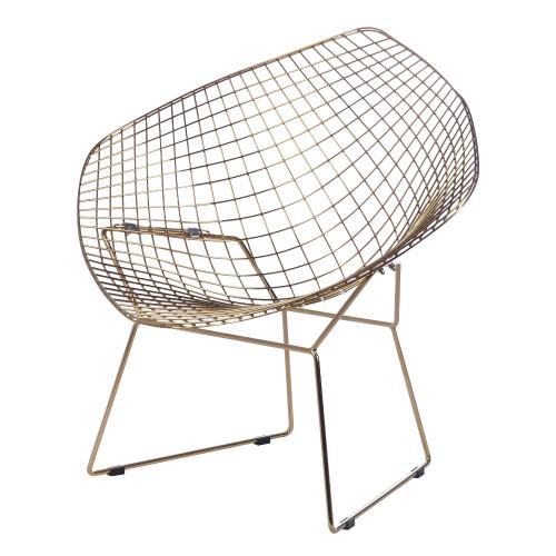 Gold Wire Diamond Chair, Black Seat