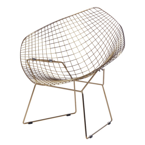Gold Wire Diamond Chair, White Seat