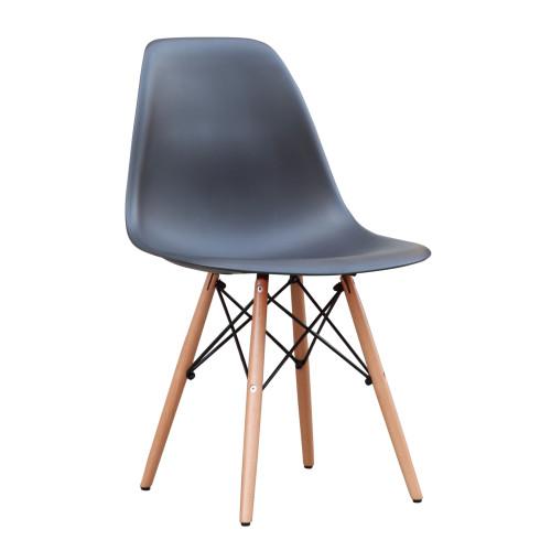 DSW WoodLeg Dining Side Chair, Black Set of 2
