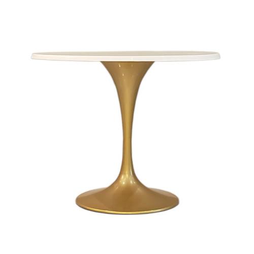 """Tulip Gold Fiberglass Flower Table 42"""", White"""