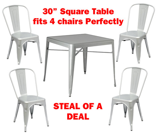 Tolix Dining Table with 4 dining Chairs Set In Silver