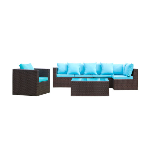 Garden 7-Piece Outdoor Rattan, Espresso with Blue Cushion,