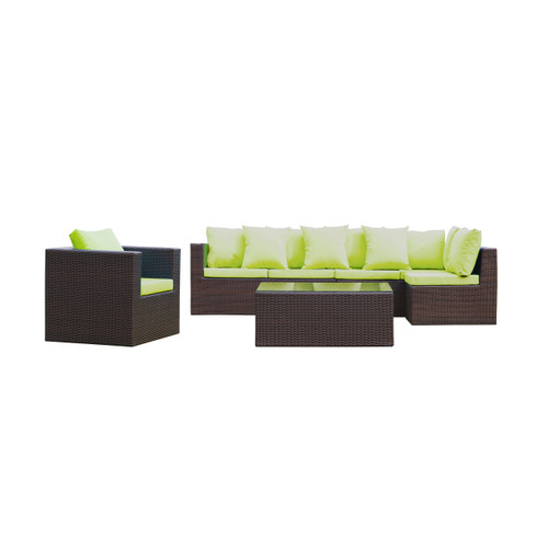 Garden 7-Piece Outdoor Rattan, Espresso with Green Cushion