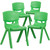 4 Pack Green Plastic Stackable School Chair with 15.5'' Seat Height