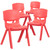 4 Pack Red Plastic Stackable School Chair with 15.5'' Seat Height