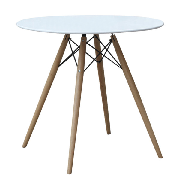 "Fine Mod Imports WoodLeg Dining Table 48"" Wood Top, White"