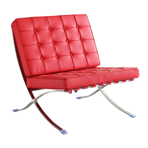 Fine Mod Imports Pavilion Chair in Leather, Red