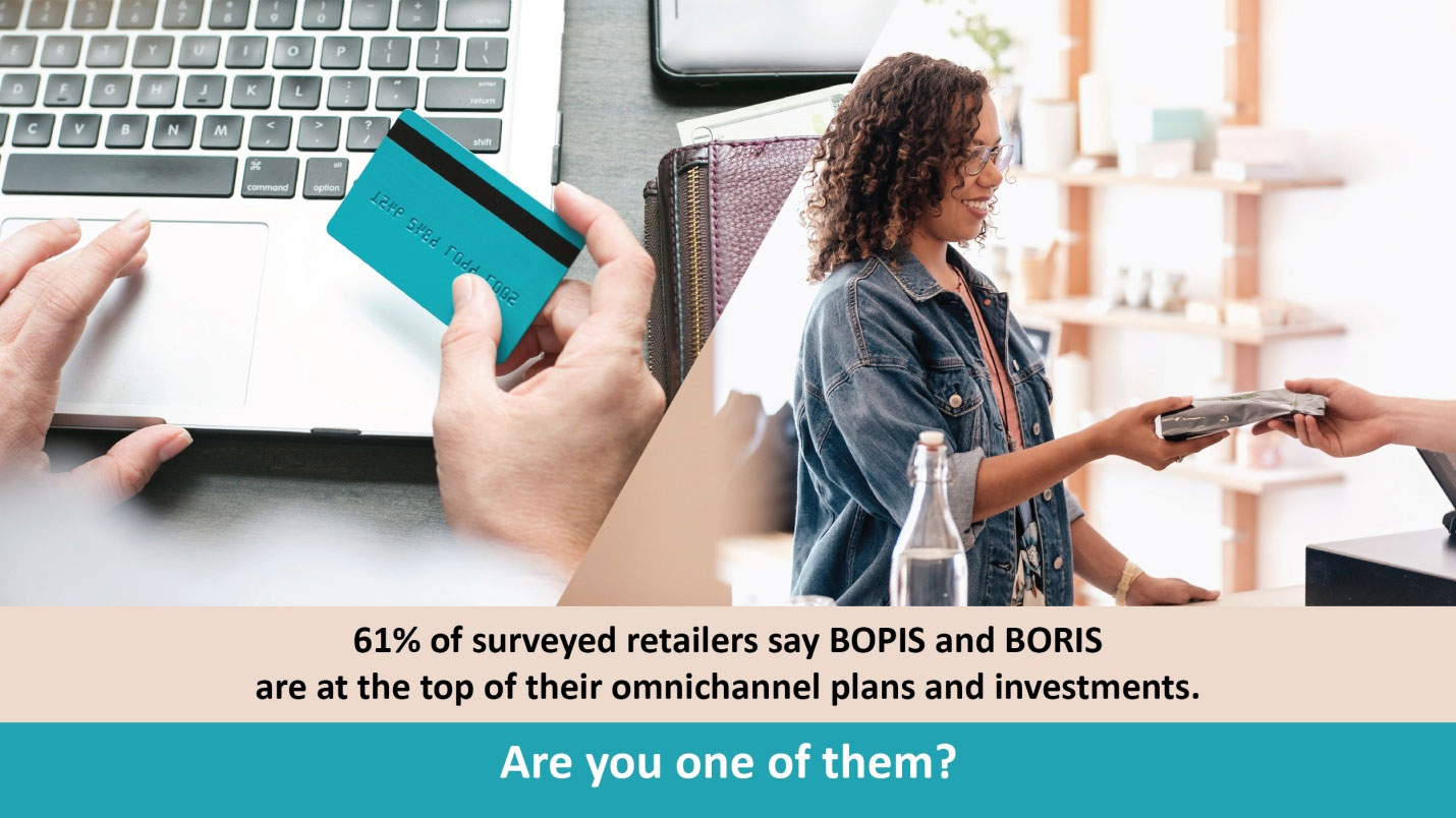 61% of surveyed retailers say BOPIS and BORIS are at the top of their omnichannel plans and investments. Are you one of them?