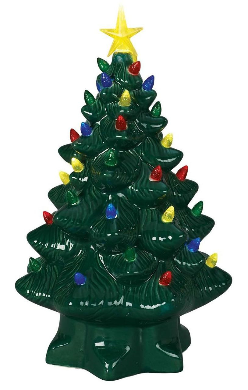 big sale ecf3a 57a08 14in Nostalgic Porclain Christmas Tree, Table Top with LED Multicolored  Lights, Battery Operated