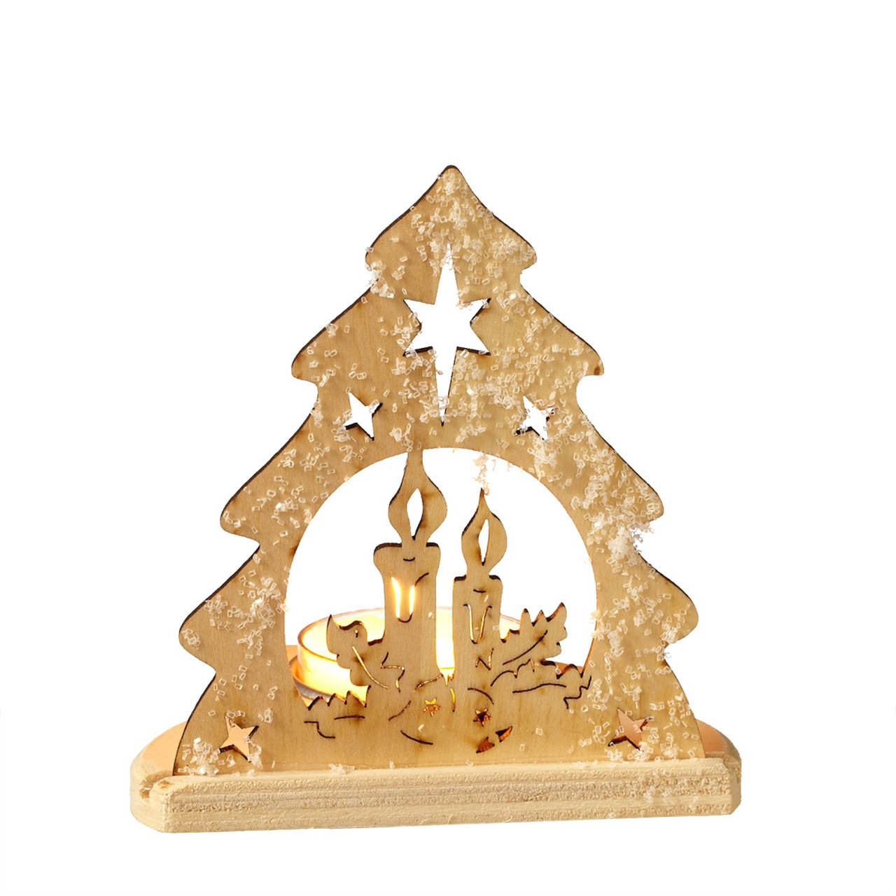 Christmas Tree Candle Holder.Christmas Tree Candle And Stars Silhouette Tealight Candle Holder