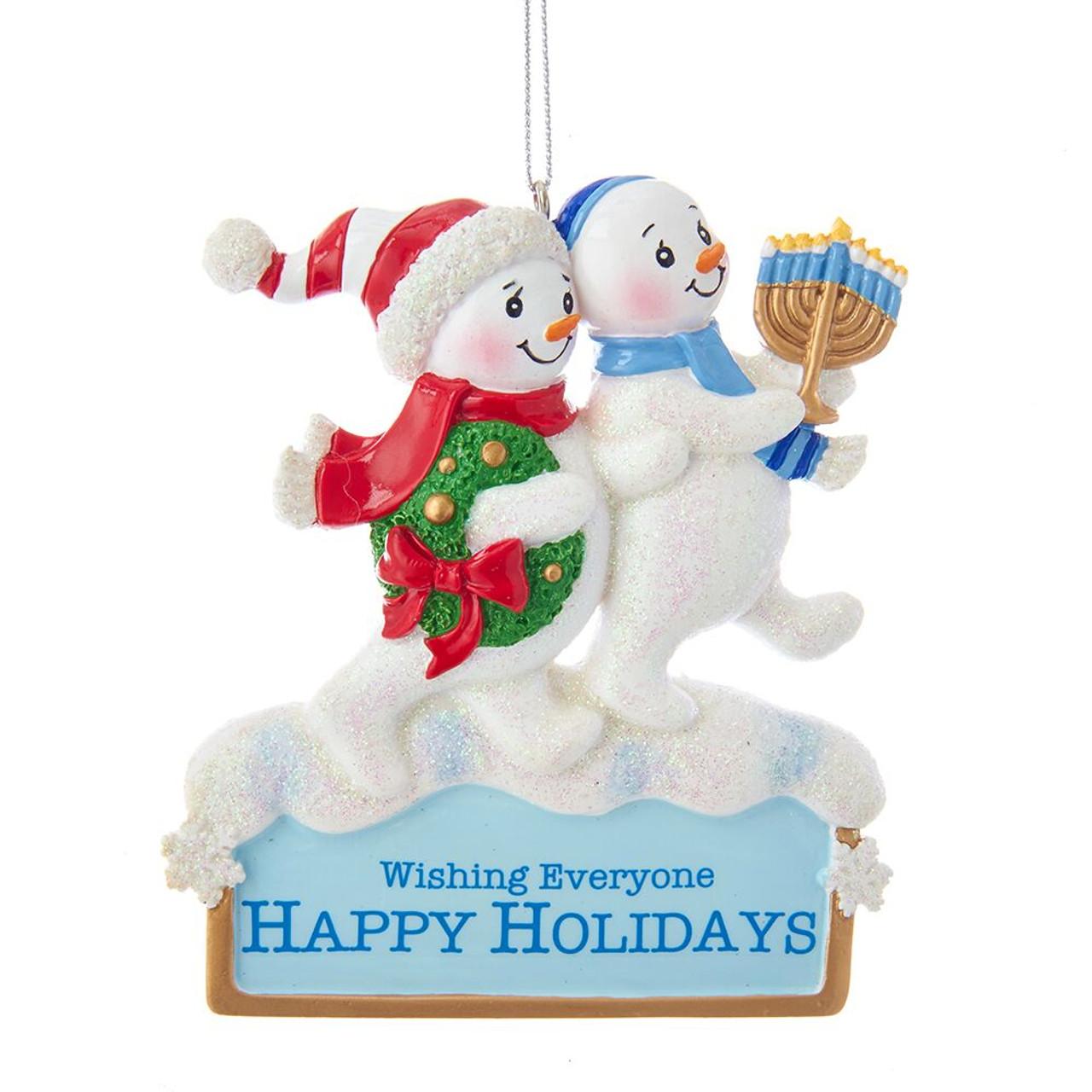 Christmas Snowmen Decorations.Hanukkah And Christmas Snowmen Ornament