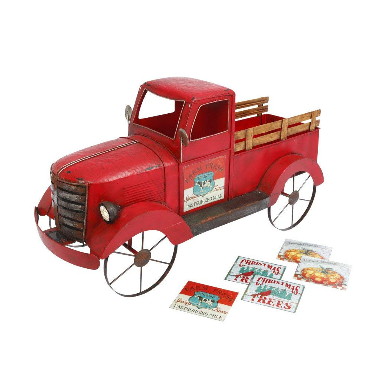 Red Christmas Truck.Large Metal Red Truck 42 Inches With Solar Panel Headlights Indoor Outdoor