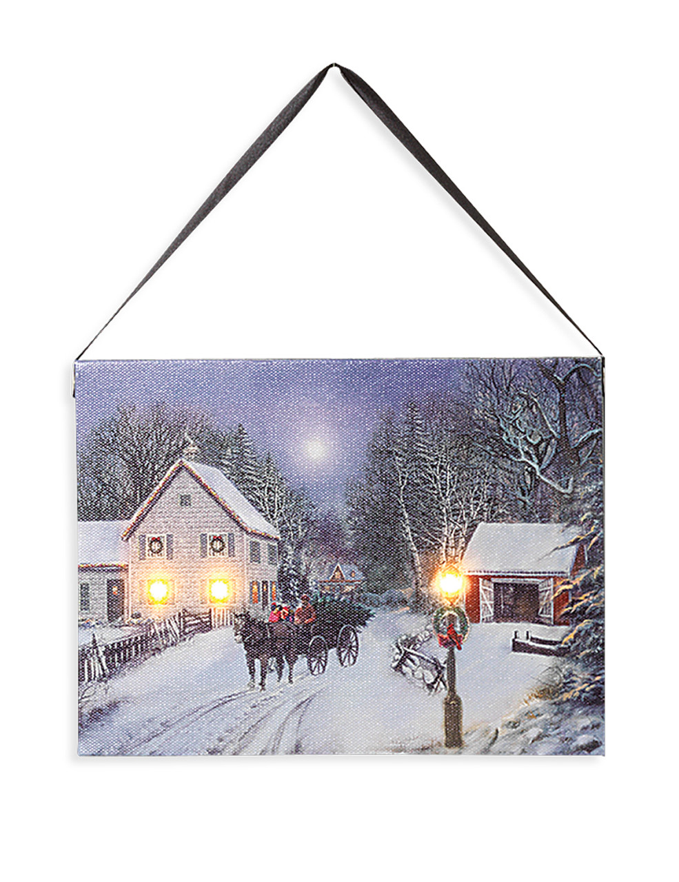 Lighted Holiday Canvas 6x8 Horizontal Snowy Country House Scene With Decorations Horses And Light Up Windows And Lantern