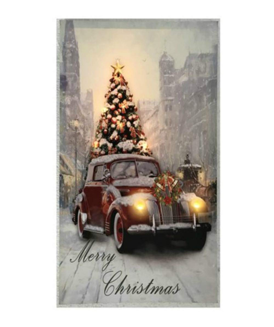 Christmas Led Canvas.Vintage Car With Christmas Tree Led Canvas