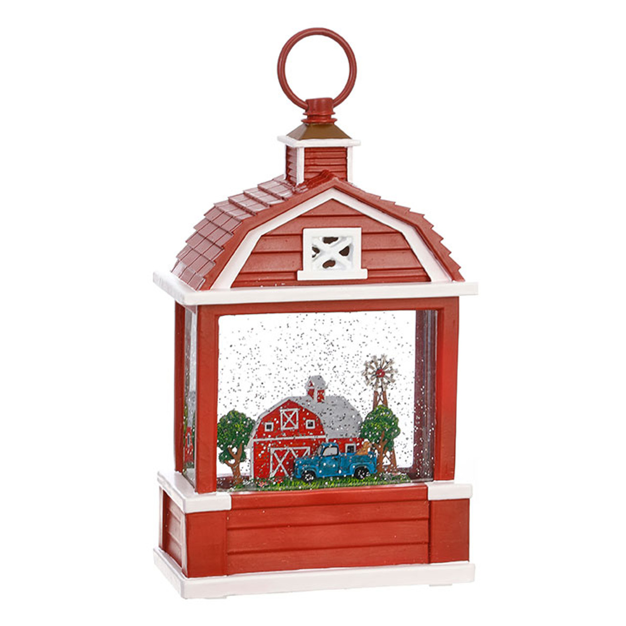 c44d8e2d184f8 Farm Scene Lighted Barn Water Lantern Battery Operated In Swirling Glitter  With