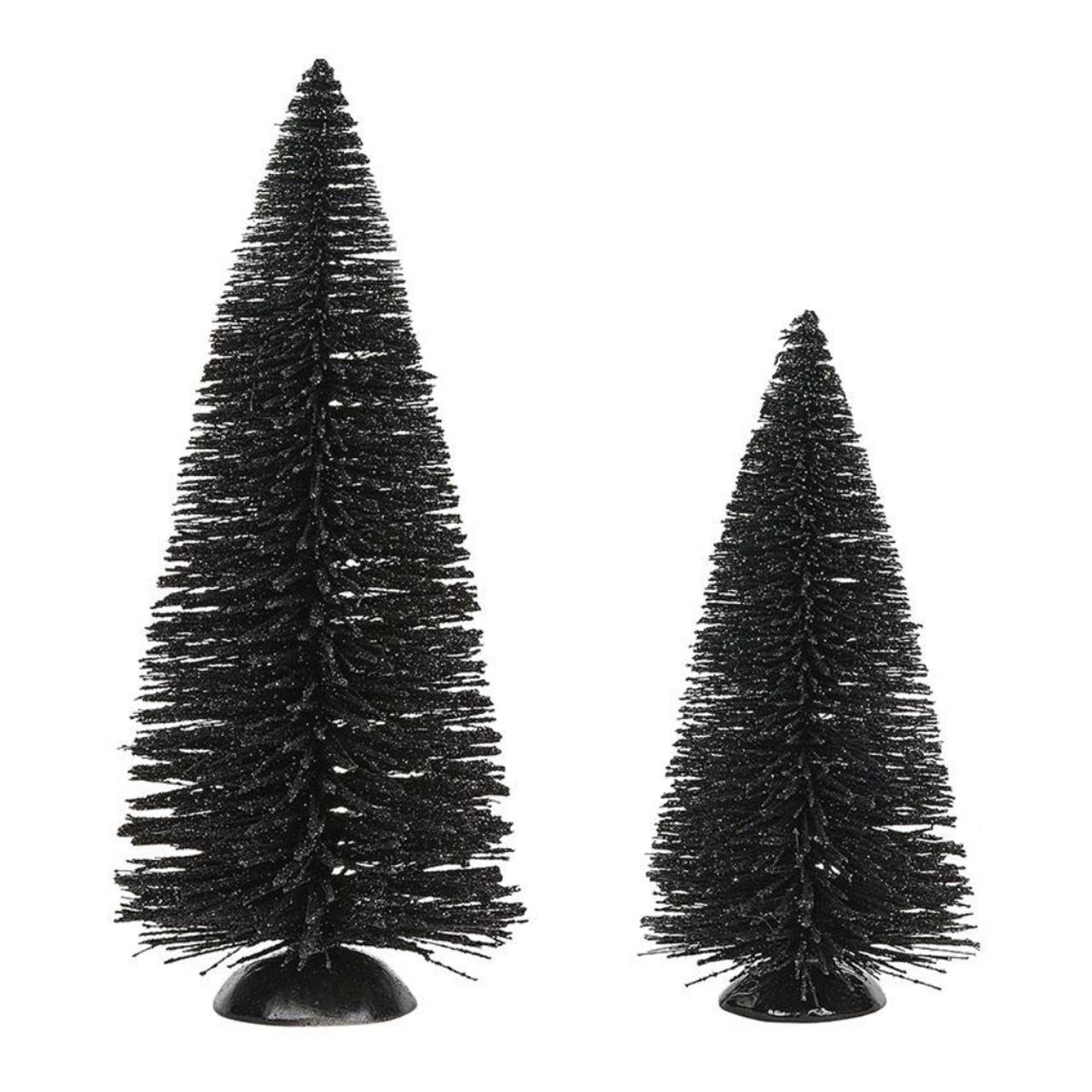 Village Halloween Accessories Kettle Black Sisal Trees Set Of 2