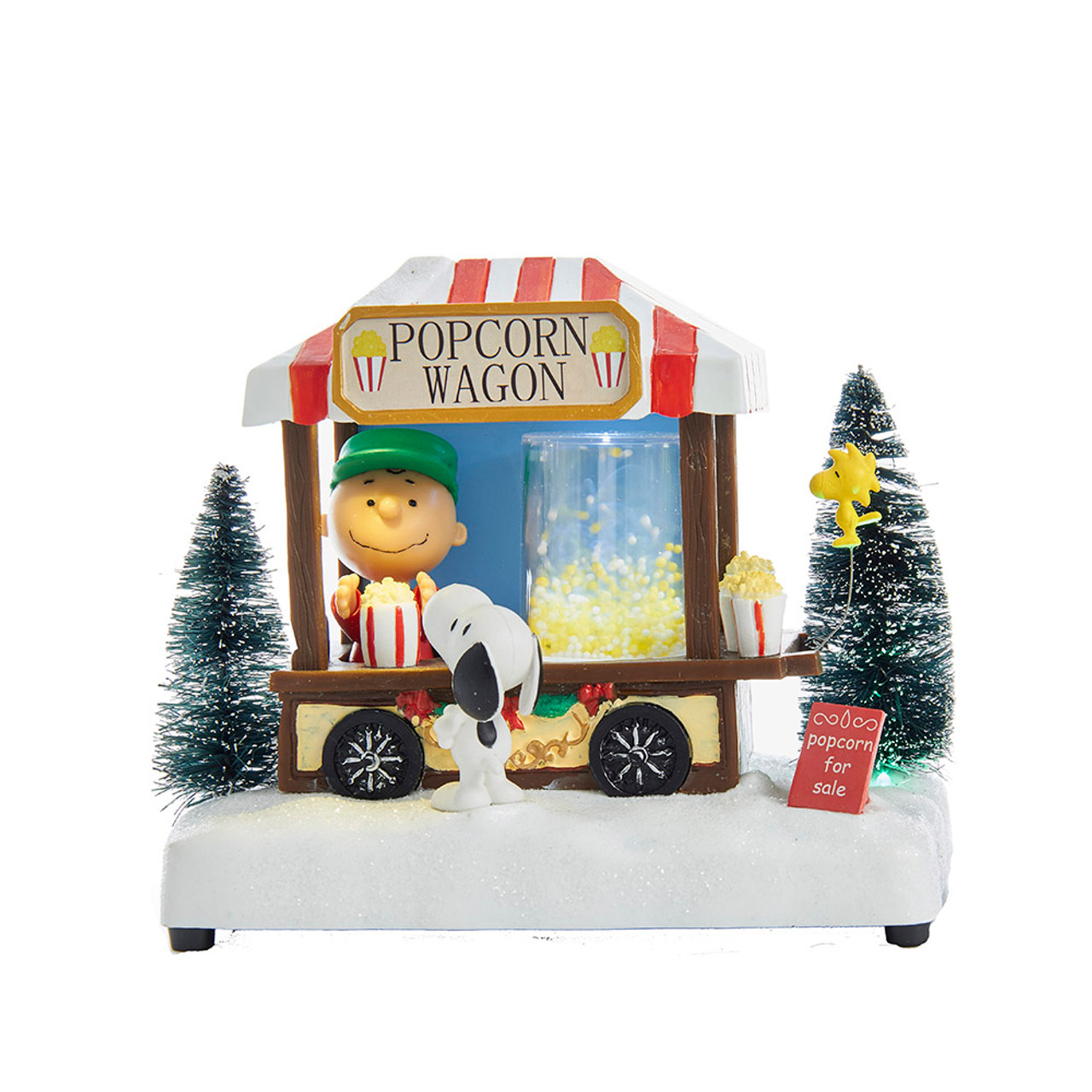 Peanuts Christmas Musical.Charlie Brown And Snoopy Popcorn Wagon Peanuts Musical Lighted Table Piece