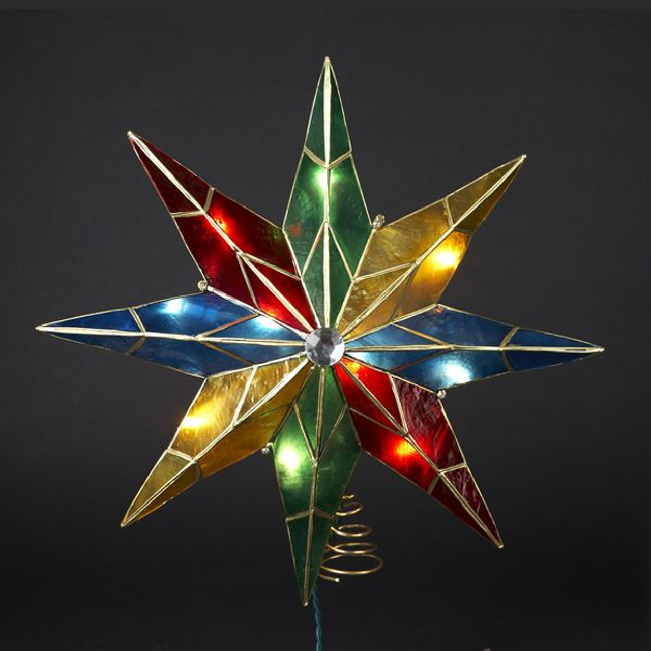 14 Inch Lighted 8-Point Capiz Multicolor Star Christmas ...