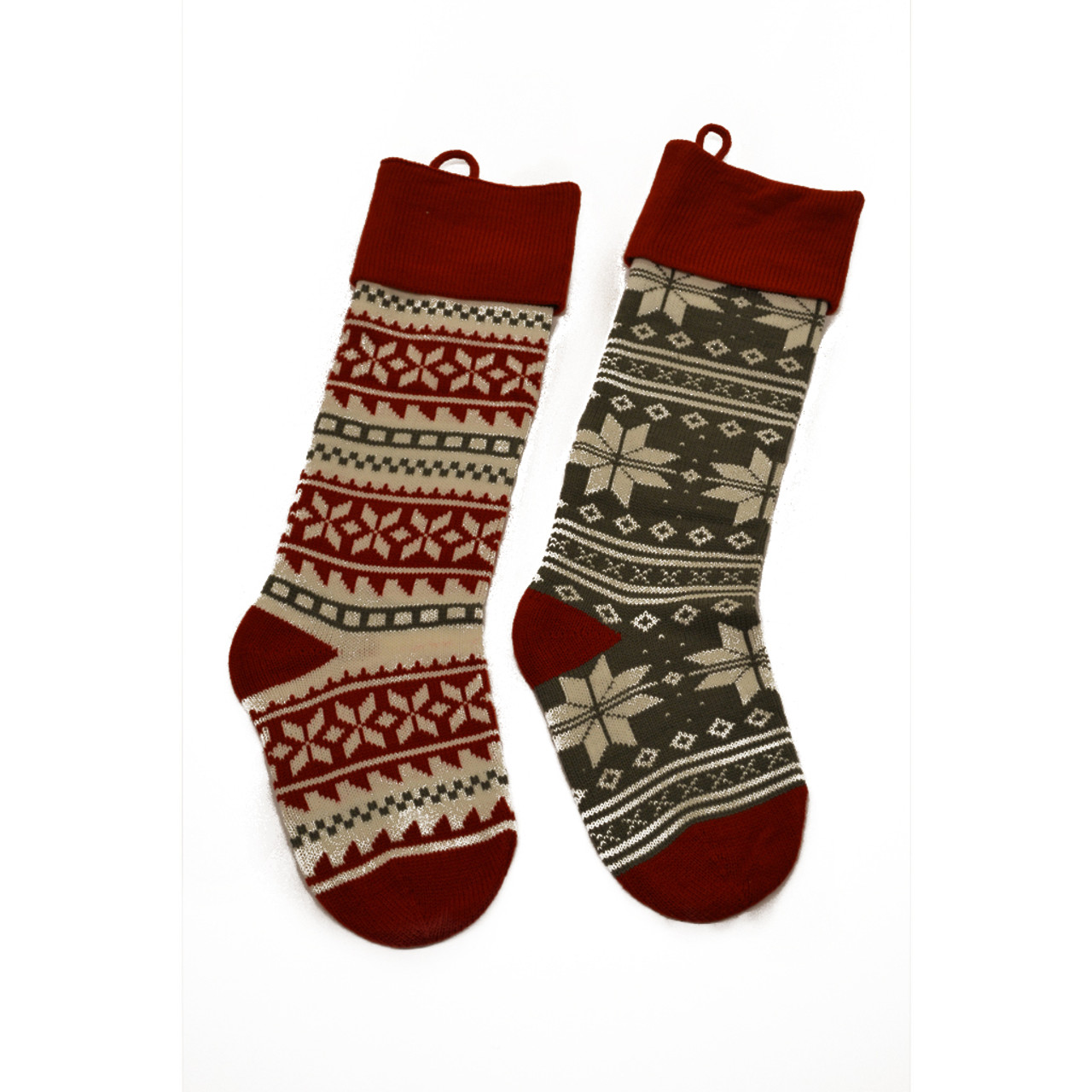 Knit Christmas Stockings.Traditional Red And Green Knit Christmas Stocking Set Of Two