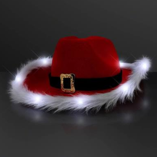 LED Santa Cowboy Christmas Hat - The Christmas Loft 7d9de53db94