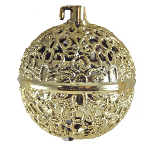 Chirping Bird Gold Colored Ball Hanging Christmas Ornament - Chirping Bird Gold Colored Ball Hanging Christmas Ornament - The