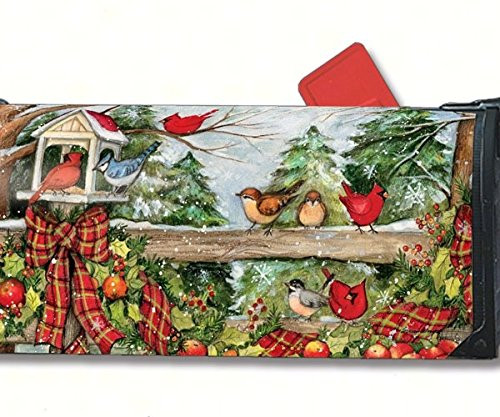 Christmas Mailbox Covers.Winter Gathering Magnetic Mail Wrap Mailbox Cover 01388