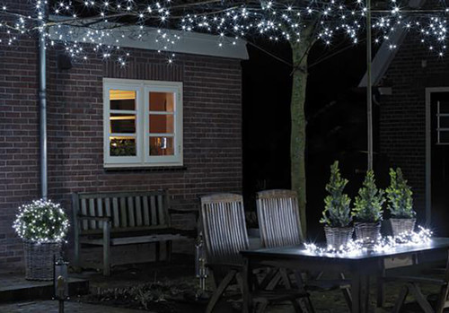 Lumineo 192 Led Cool White Battery Operated Christmas Lights Set Transparent Wire