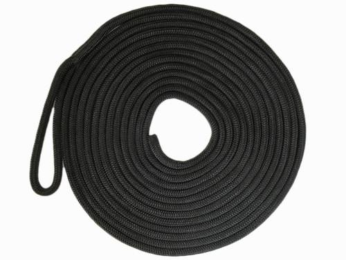 "Double Braid ""Yacht Braid"" Nylon Dock Line  in Black"