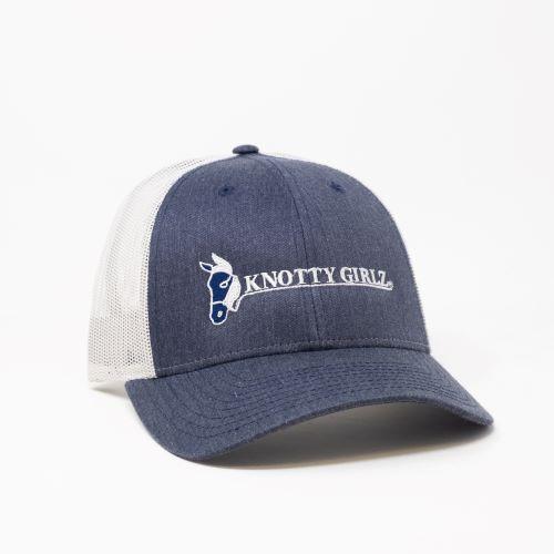 Knotty Girlz Denim/White hat front view.  Denim colored bill with white Knotty Girlz logo, light grey mesh back.