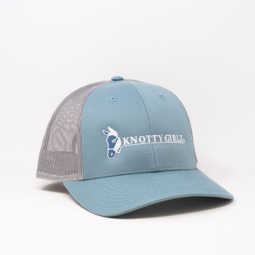 Knotty Girlz  Teal/White hat front view.  Teal colored bill with white Knotty Girlz logo, grey mesh back.