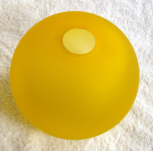 Small - Medium Yellow Bulbous Frosted Glass Vase 5 inches