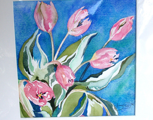 "ORIGINAL (Early) JOY LEA Watercolour ""Dancing Tulips"" (Unmounted)"
