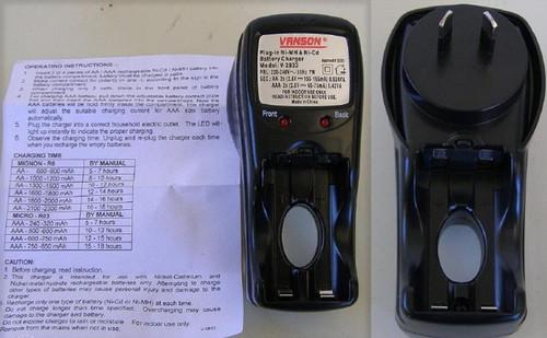 VANSON AA & AAA NiCd/NiMH Wall Plug battery charger