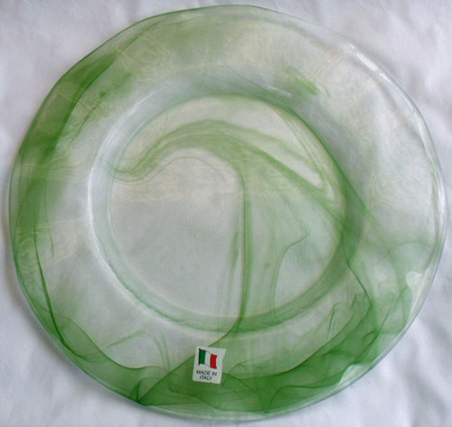 Italian Green Ribbon Glass Charger Plate