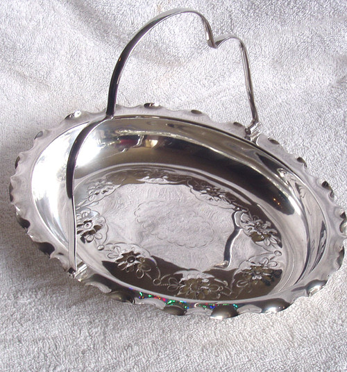 1950's Silverplate Oval Handled Serving Tray