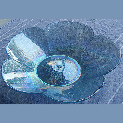 "Light Blue Glass ""Petal"" sweet bowl"