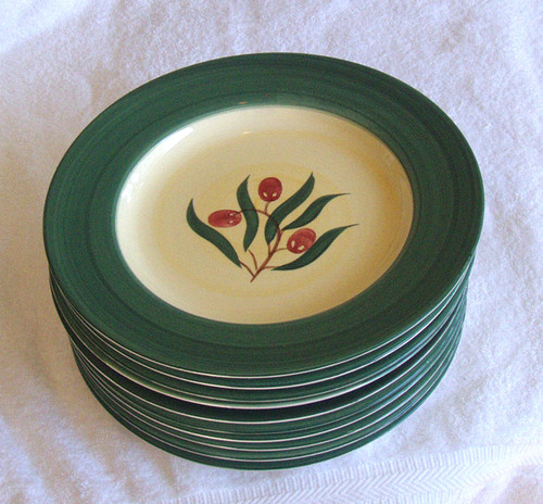 "Stoneware Dinner Plate Set (10) Roma Hand Painted 10.5""/280mm"