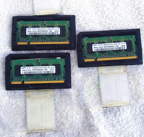 SAMSUNG 512Mb 2Rx16 PC2-5300S-555-12 667Mhz SO-DIMM (Single)