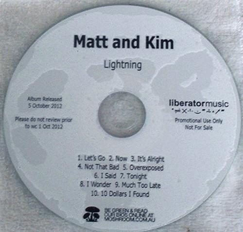 Alternative Punk Rock - Matt & Kim Lightning Promo CD 2012