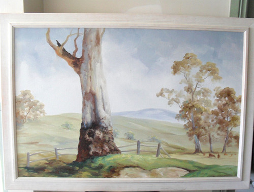 "ORIGINAL Australian Rural Acrylic Artwork ""GUMTREE"" by J Fischer (990mm x 690mm)"