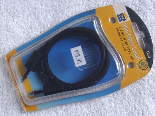AVICO Optical Audio 3.5mm Mini Toslink Plug To Plug 1m Lead 0C3 (NOS)
