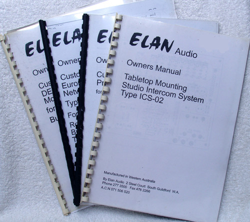 Broadcast Industry ELAN Audio Technical Manuals (4)