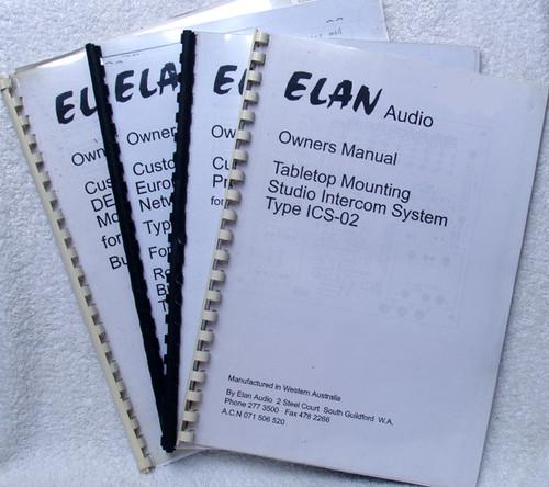 Technical Manuals (4) - ELAN Audio Broadcast Equipment