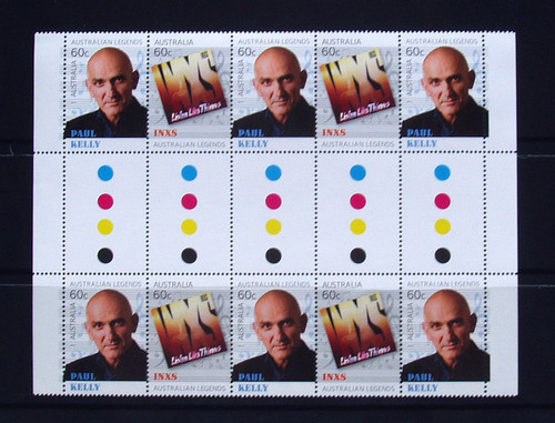 Stamps AUSTRALIAN LEGENDS OF MUSIC Gutter MNH Paul Kelly INXS (10) 2013