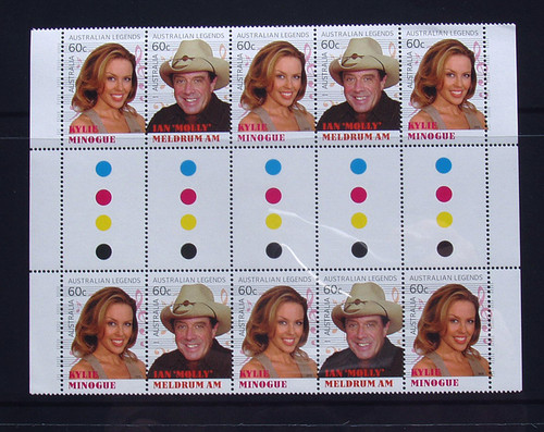 Stamps AUSTRALIAN LEGENDS OF MUSIC Gutter MNH KYLIE & MELDRUM (10) 2013